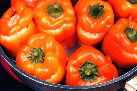 delicacy: Hungarian delicacy, stuffed red pepper   Stock Photo