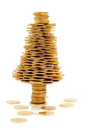 Christmas tree made of gold coins, Christmas tree made of polish gold coins, business metaphor Stock Photo
