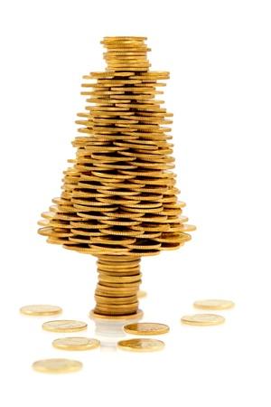 Kerstboom gemaakt van gouden munten, Kerst boom gemaakt van gepolijst gouden munten, business metafoor