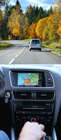 Travel by car with gps system, transport and technology photo