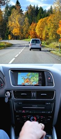Reizen per auto met gps-systeem, transport en technologie