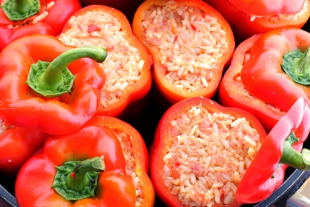 Hungarian delicacy, stuffed red pepper photo