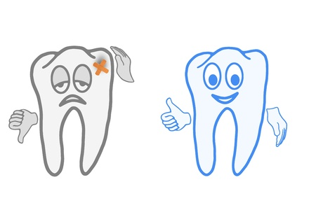 molar: Very sick and healthy tooth, before and after the visit to the dentist