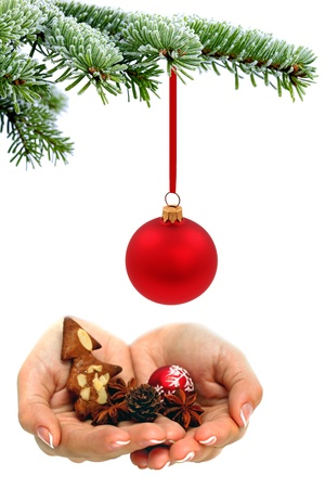 Hands with christmas symbols photo