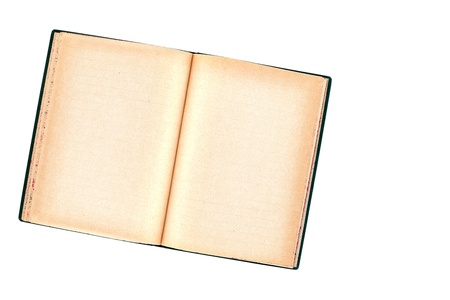 wastepaper: Old damage copybook on white, paper texture Stock Photo