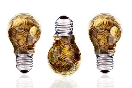 Traditional glass bulb and energy savings photo