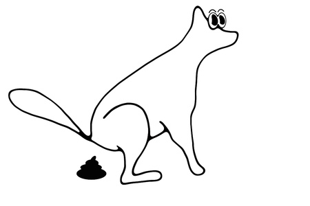 cartoon toilet: Silhouette of a dog that makes excrement Stock Photo
