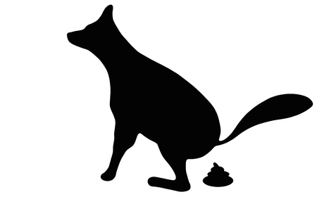 feces: Silhouette of a dog that makes excrement Stock Photo