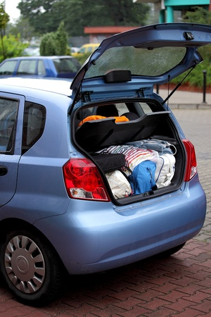 car trunk: Summer holiday and travel by car