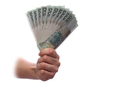 bribe: Woman palm with a lot of polish banknote