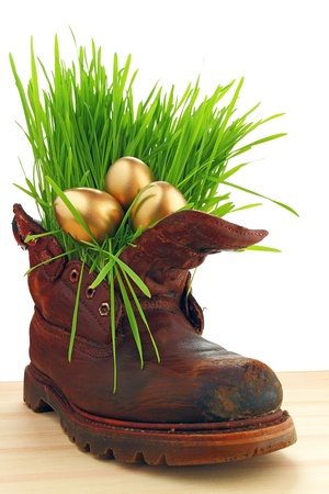 Easter golden eggs in old shoes, with fresh grass Happiness you can be found everywhere, just look around ourselves  photo