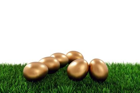 golden egg: Golden easter eggs on green grass  Stock Photo