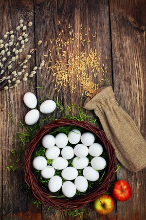 woden: Easter eggs and  natural wooden country table, background and texture