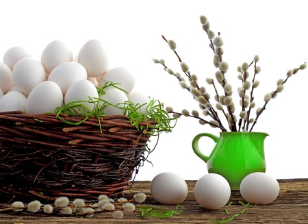 crack willow: Easter eggs and  natural wooden country table, background and texture