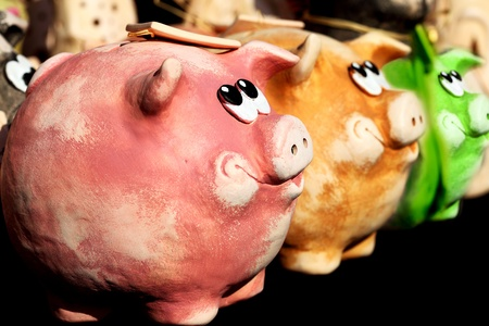 Few nice smiling pigs for save many money photo