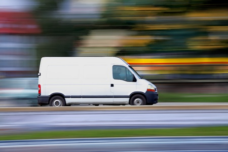 Blur white van,  panning and move