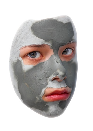 Sad teenager with grey cosmetic mask Stock Photo - 13294545