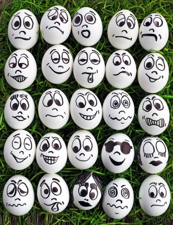 White eggs and  many funny faces