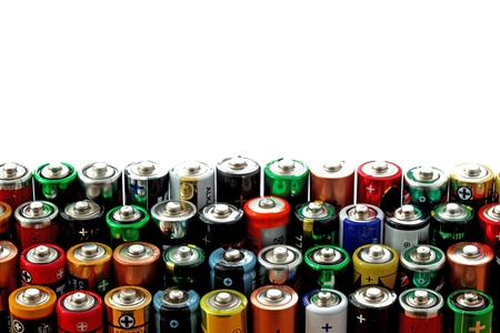 Veel verschillende aa batterijen achtergrond