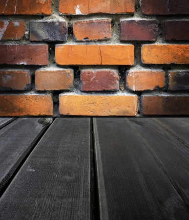 Old wooden  dark scene and an old brick wall, background photo