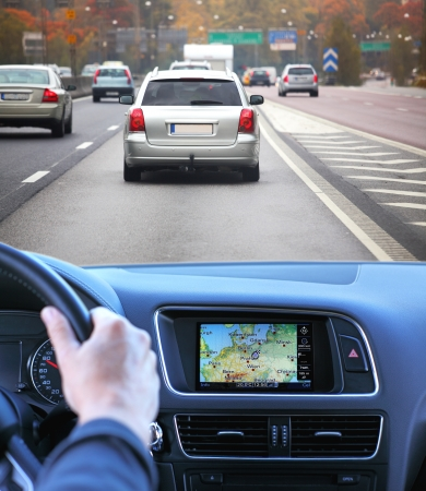 dash: Highway driving fast with gps Stock Photo
