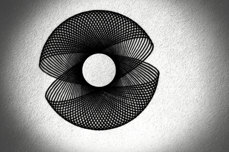curvature: Image of hand drawing circle on white cardboard, depth illusion  Stock Photo