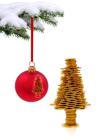 Christmas evergreen spruce tree and   golden happy tree on snow background photo