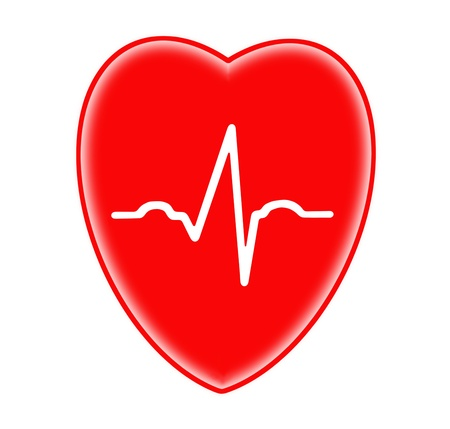 rescue signs: Ecg graph on red heart background