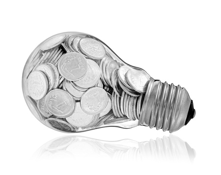 Traditional glass bulb with many silver coins