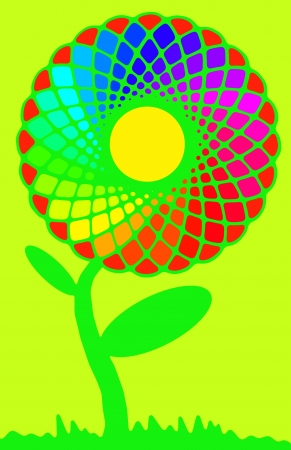 flower structure: Rainbow flower full of colors on green