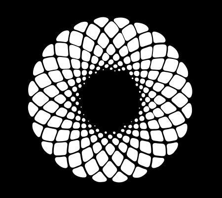 curvature: Image of hand drawing and digital circle on black  background with depth illusion