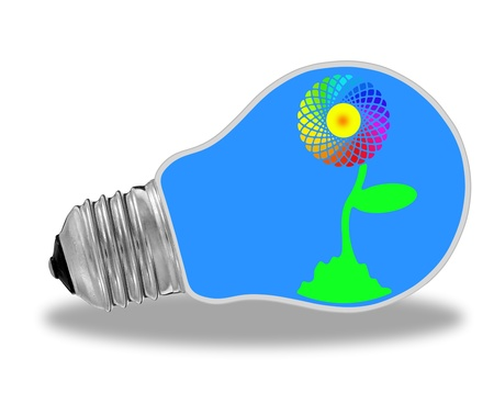 Blue light bulb with rainbow sunflower and renewable energy photo