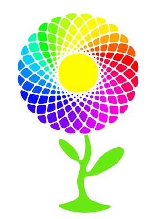 Rainbow sunflower full of colors Zdjęcie Seryjne