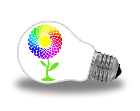 economic depression: Glass light bulb with rainbow sunflower and renewable energy