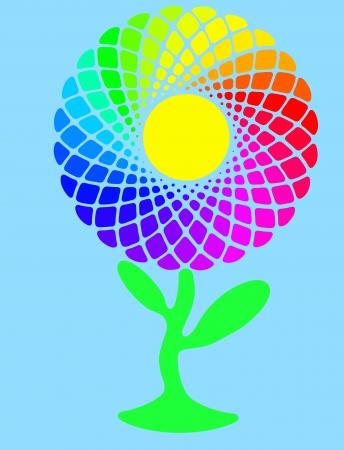 Rainbow sunflower full of colors on blue sky with sun photo