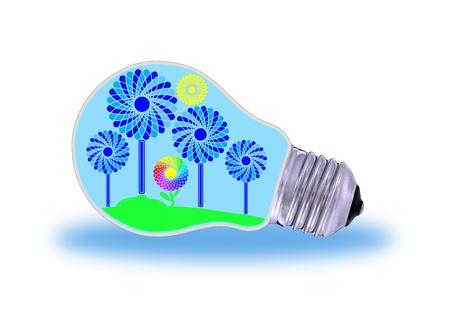 Traditional  light bulb and renewable energy photo