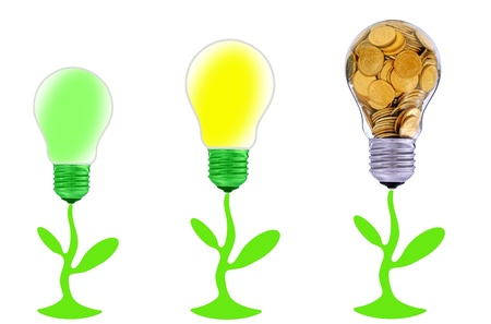 Golden  glass lightbulb  creative symbol  of  business, renewable energy sources photo