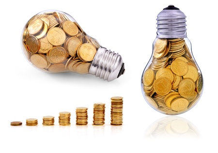 Golden  glass lightbulb  creative symbol  of  business, renewable energy sources Stock Photo - 16955798