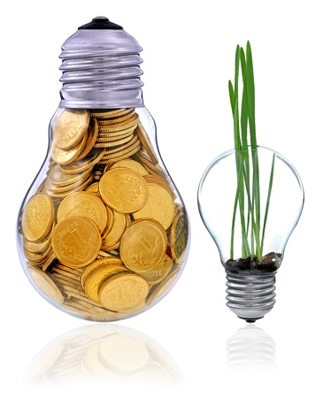 commercial recycling: Golden  glass lightbulb  creative symbol  of  business, renewable energy sources Stock Photo