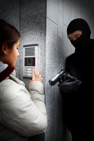 enticement: Video intercom in the entry of a house Stock Photo