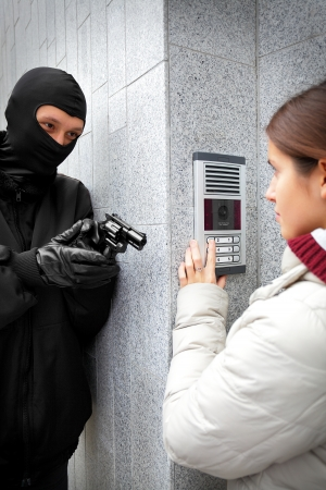 balaclava: Video intercom in the entry of a house Stock Photo