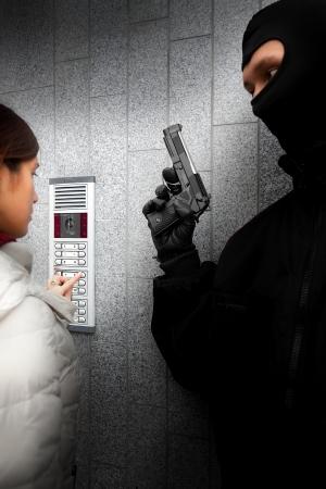 Video intercom in de ingang van een huis Stockfoto