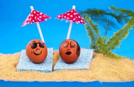 Easter island and pair easter eggs on vacation Stock Photo