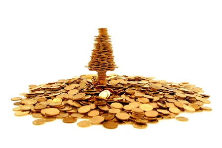 Golden tree of happiness and many golden coins photo
