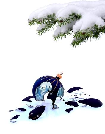 Christmas tree and broken glass bauble on white, failed christmas Stock Photo - 20227807