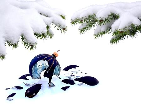 Christmas tree and broken glass bauble on white, failed christmas Stock Photo - 20227811