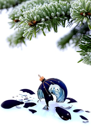 Christmas tree and broken glass bauble on white, failed christmas Stock Photo - 20227815