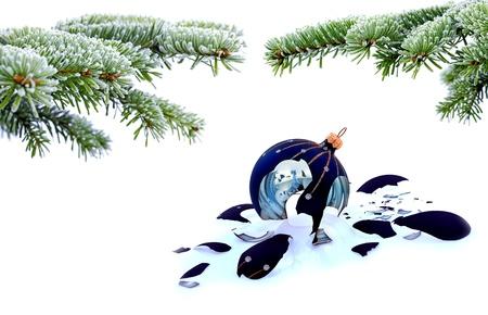 Christmas tree and broken glass bauble on white, failed christmas Stock Photo - 20227812