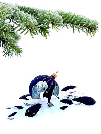 Christmas tree and broken glass bauble on white, failed christmas Stock Photo - 20227814