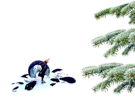 Christmas tree and broken glass bauble on white, failed christmas Stock Photo - 20227819
